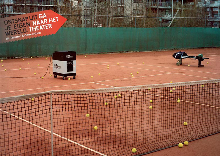 Buro Promotie Podiumkunsten Go to the theater Tennis Rene Nuijens Dutch Advertising Photography Netherlands Holland -KesselsKramer Amsterdam