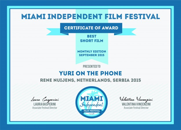 Certificate MIAMI INDEPENDENT FILMFESTIVAL